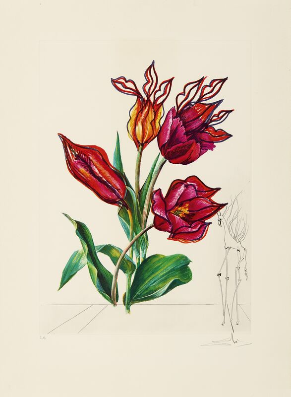 Salvador Dalí, 'Surrealistic Flowers or Florals', 1972, Print, Dry point on heliogravure colorful on very heavy Arches France paper (watermark), Invertirenarte.es