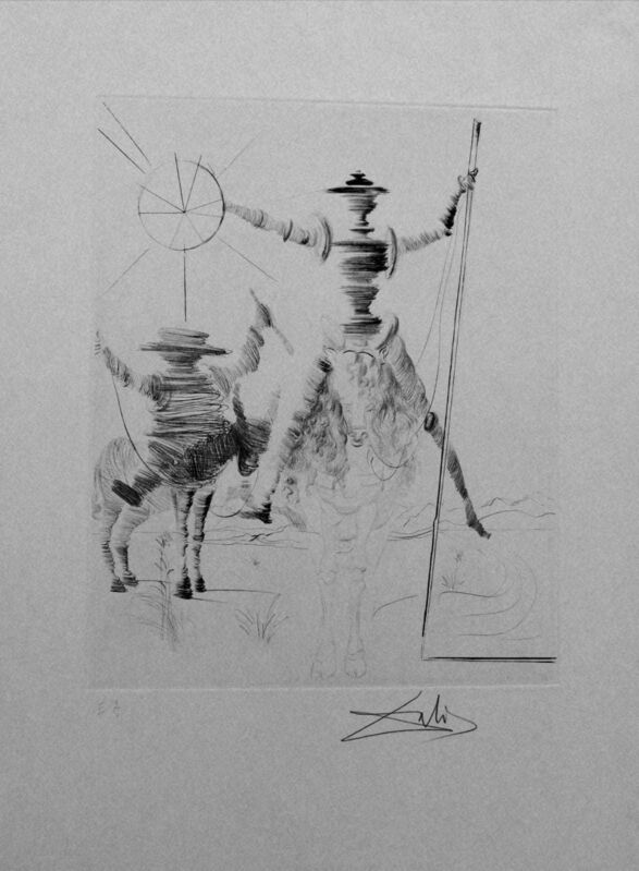 Salvador Dalí, 'Don Quichotte and Sancho Panza', 1968, Drawing, Collage or other Work on Paper, Original dry-point, Dali Paris