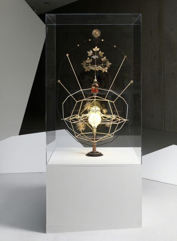 Björn Dahlem, 'Himmelsglobus (Das All)', 2012, Sculpture, Wood, steel, copper, bottle, bauble, light bulb, cocktail cherries, varnish, Sies + Höke