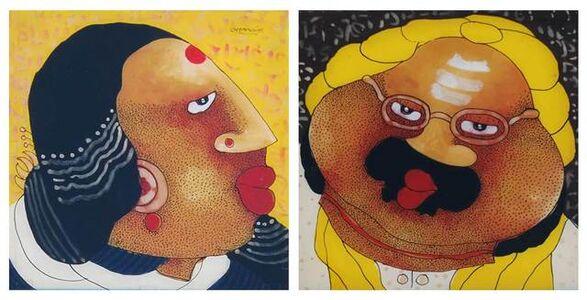 "Shyamal Mukherjee, 'Bawa Biwi, Oil on Acrylic Sheet (Set of 2), by Contemporary Artist ""In Stock""', 2008"
