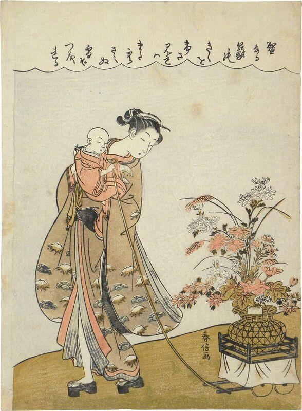 Suzuki Harunobu, 'Young Beauty Carrying a Child Pulling a Flower Cart', ca. 1770, Print, Woodblock print, Scholten Japanese Art