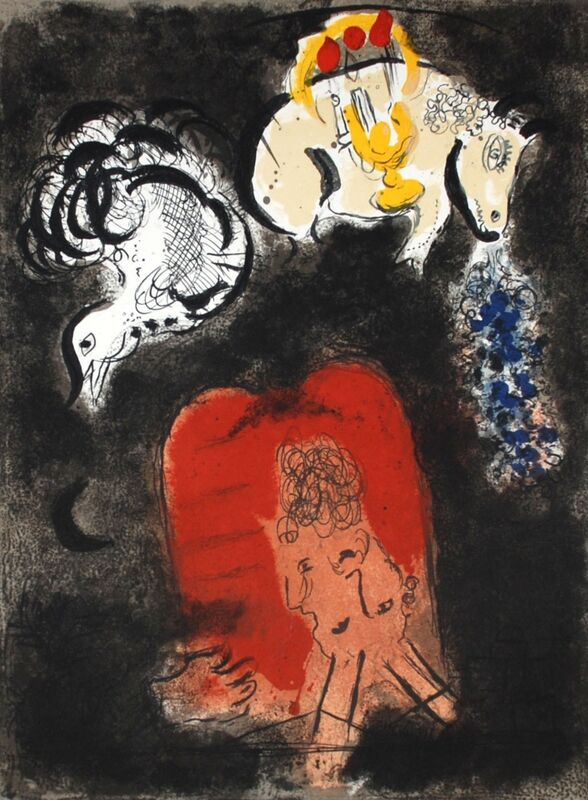 Marc Chagall, 'Moses and the Tablets of the Law (frontispiece), The Story Of The Exodus', 1966, Print, Original Lithograph, Inviere Gallery
