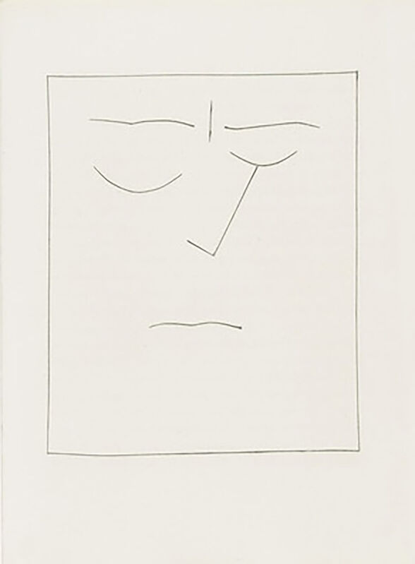 Pablo Picasso, 'Square Head of a Man with Closed Eyes (Plate VIII)', 1949, Print, Original etching on Montval wove paper, Georgetown Frame Shoppe