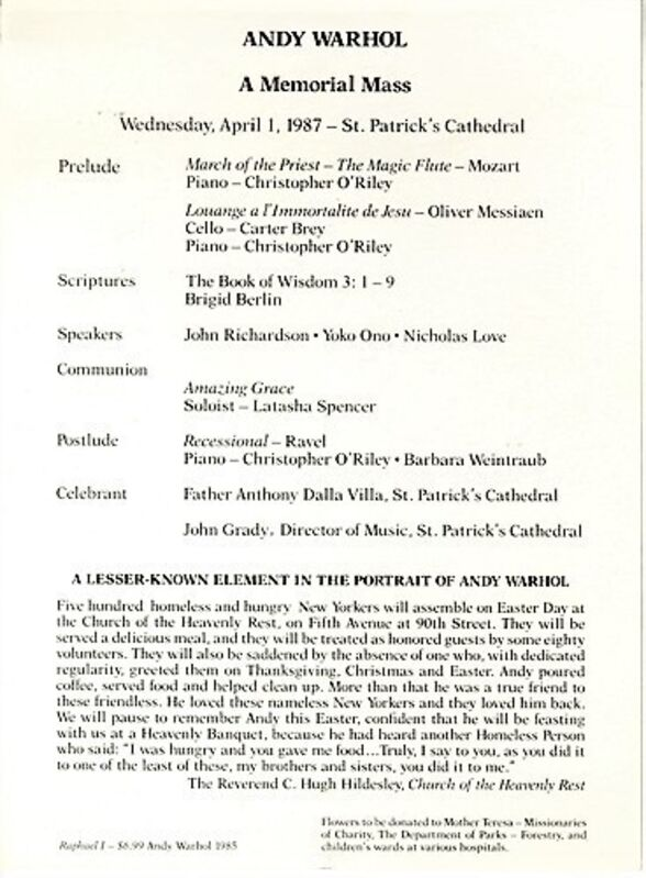 Andy Warhol, 'Warhol's Memorial Mass Announcement Card - St. Patrick's Cathedral NYC', 1987, Ephemera or Merchandise, Offset Lithograph, VINCE fine arts/ephemera