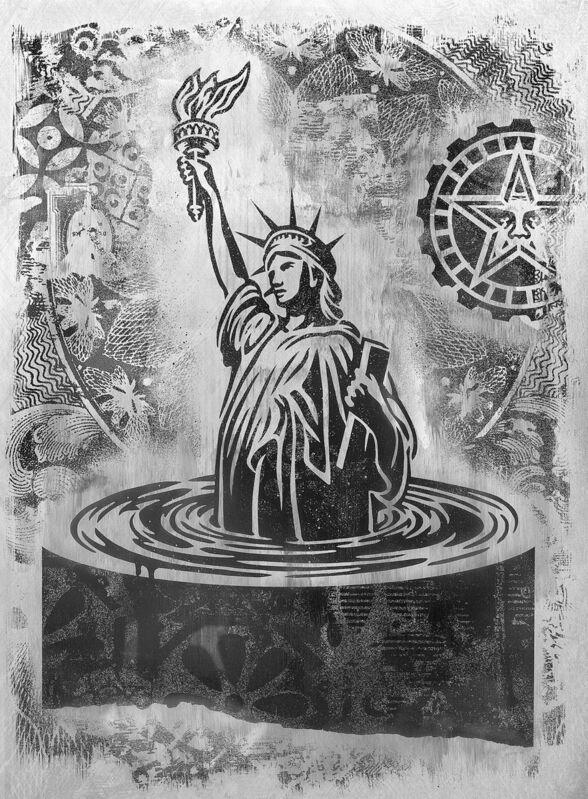 Shepard Fairey, 'Sinking Liberty', 2017, Mixed Media, Mono-Engraving on Metal (Aluminium), StolenSpace Gallery