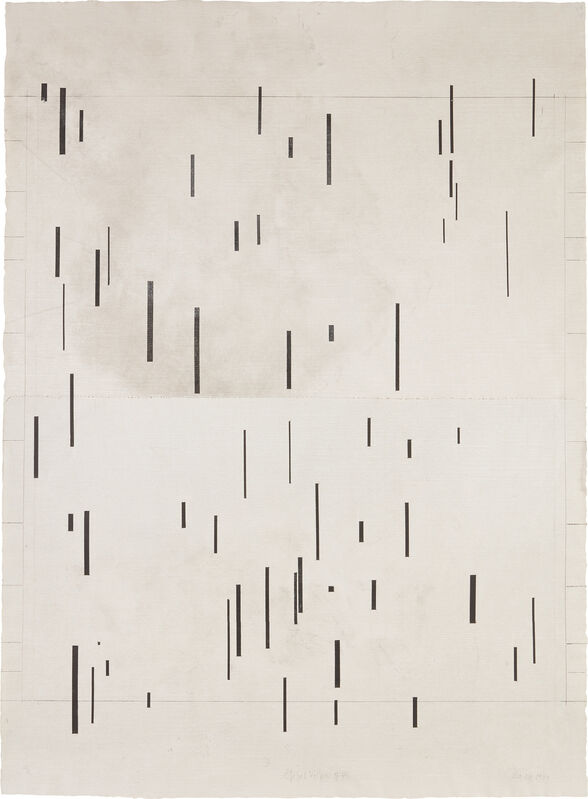 John Cage, 'Global Village 37-48', 1989, Print, Aquatint on two sheets of gray smoked Fabriano paper (as issued), the full sheets., Phillips