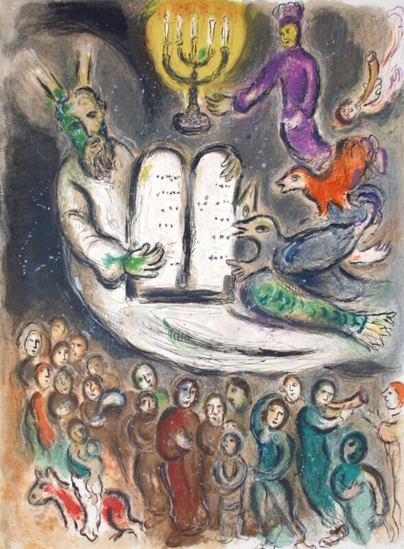 Marc Chagall, 'Moses Shows the Elders the Tablets of the Law, The Story Of The Exodus', 1966, Print, Original Lithograph, Inviere Gallery