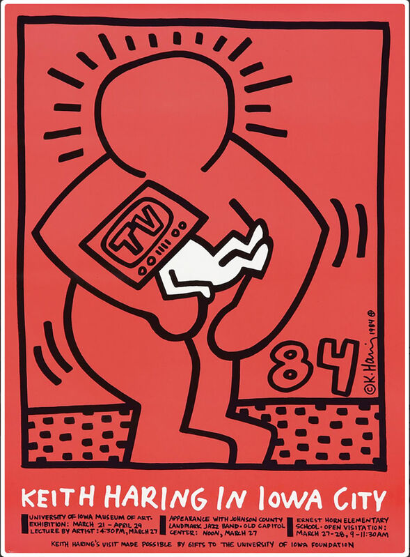 Keith Haring, 'Keith Haring in Iowa City ', 1984, Posters, Offset lithograph, Lot 180