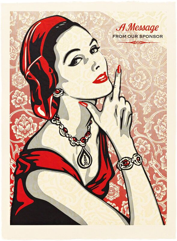 Shepard Fairey, 'A Message from Our Sponsor', 2015, Print, Three-color relief on handmade paper, Pace Prints