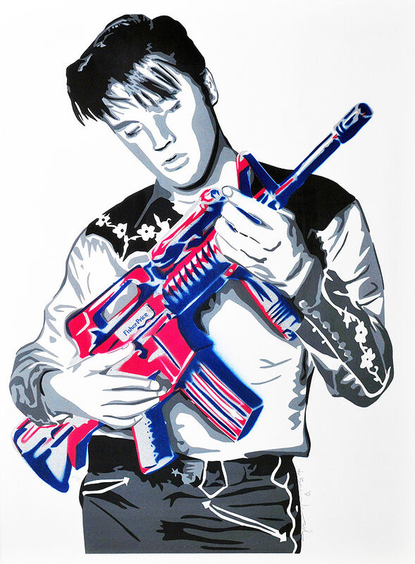 Mr. Brainwash, 'Don't Be Cruel (Red, White, and Blue)', 2009, Print, Screen print and stenciled spray paint on paper., Artsy x Tate Ward