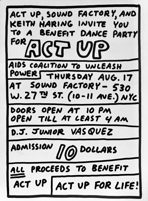 Keith Haring, 'Keith Haring Act Up for Life', 1989, Posters, Offset printed announcement, Lot 180