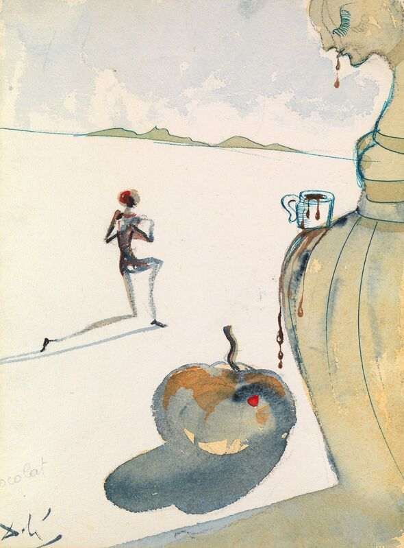 Salvador Dalí, 'Chocolat', 1966, Drawing, Collage or other Work on Paper, Watercolour with pen & ink on paper, Waterhouse & Dodd
