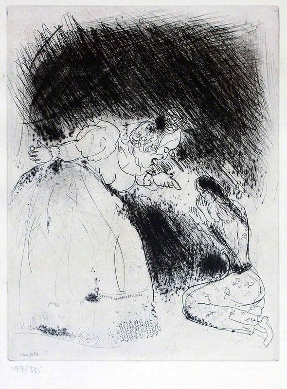 """Marc Chagall, 'La Femme du Gouverneur gronde sa fille - From the series """"Les Ames Mortes""""', 1923-1927, Print, Etching, Wallector"""