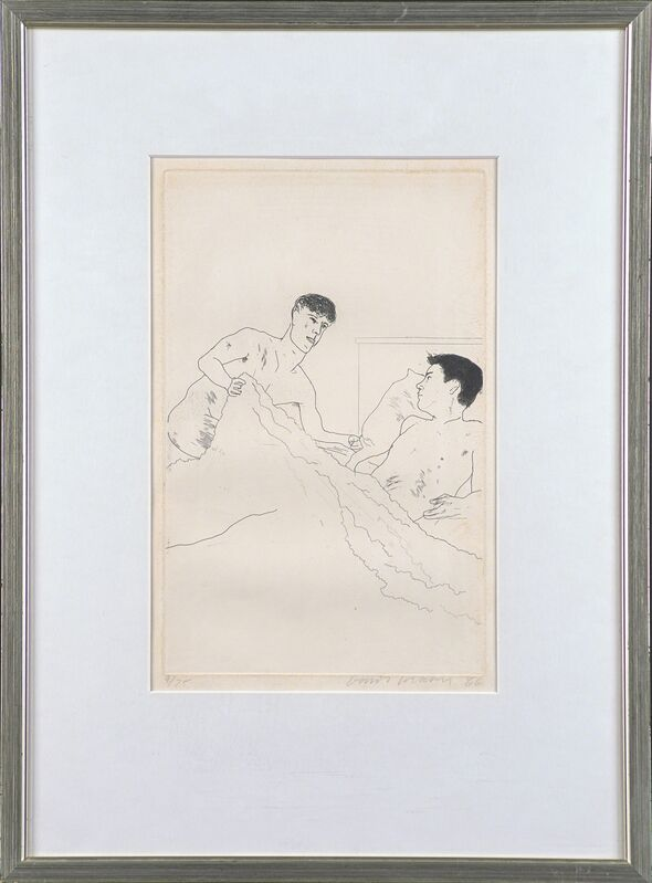 David Hockney, 'According to Prescription of Ancient Magicians from Illustrations for Fourteen Poems from C.P. Cavafy', 1966, Print, Etching (framed), Rago/Wright/LAMA