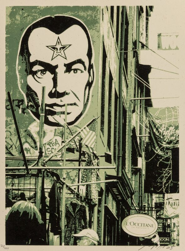 Shepard Fairey, 'Post No Bills (Green)', 2005, Print, Screenprint in colors on speckled cream paper, Heritage Auctions