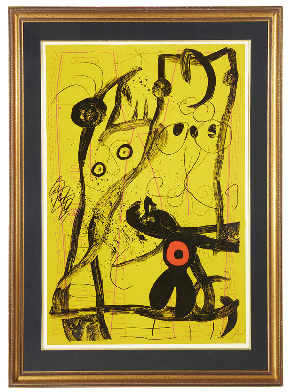 Joan Miró, 'Delire Du Couturier Jaune', Print, Color lithograph on paper under Plexiglas, Maeght, prntr., John Moran Auctioneers