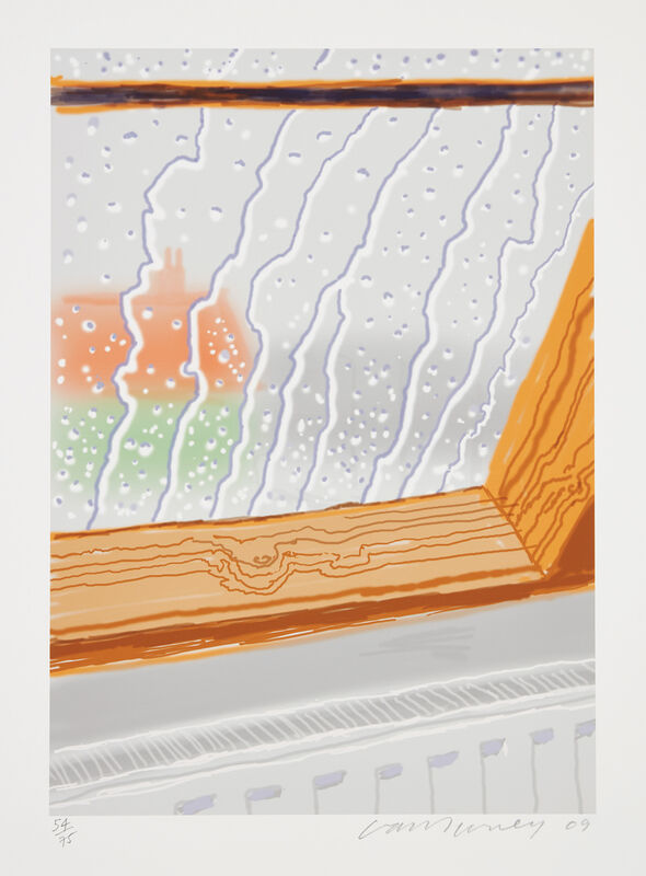 David Hockney, 'Rain on the Studio Window', 2009, Print, Inkjet printed computer drawing in colors, on Epson Hot Press Natural paper,  with full margins, with accompanynig deluxe book edition *David Hockney My Yorkshire: Conversations with Marco Livingstone*., Phillips