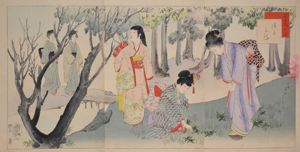 Miyagawa Shuntei, 'Gathering Wildflowers in the Forest', 1899