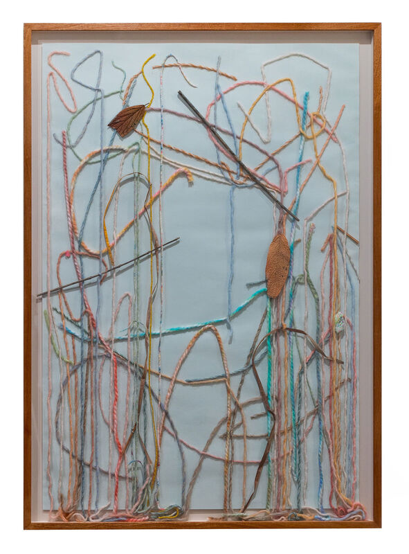 Georgie Hopton, 'After the Deluge', 2019, Drawing, Collage or other Work on Paper, Wool, leaves and mixed media on painted paper., Lyndsey Ingram