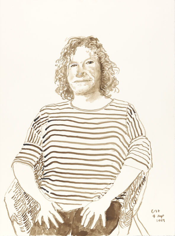 David Hockney, 'Lisa Knight, 4 Sept 2019', 2019, Drawing, Collage or other Work on Paper, Ink on paper, Annely Juda Fine Art