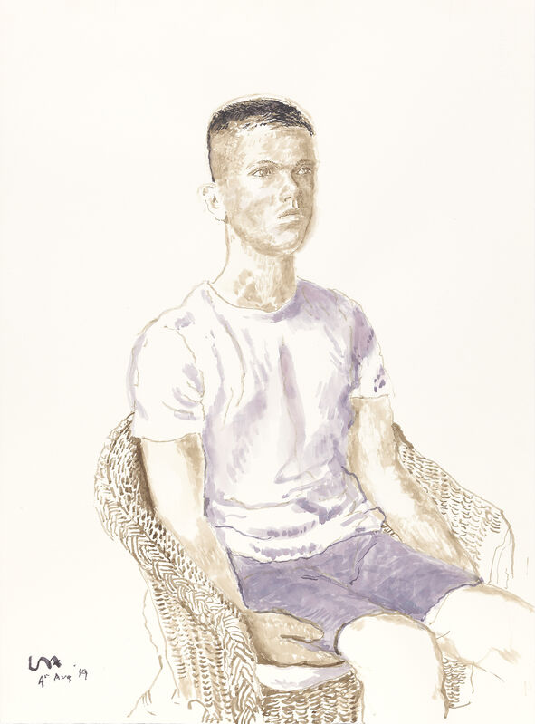 David Hockney, 'James Wilkinson, 4th Aug 2019', 2019, Drawing, Collage or other Work on Paper, Ink on paper, Annely Juda Fine Art