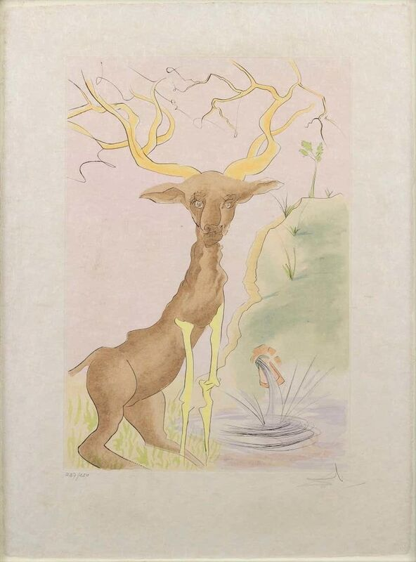 Salvador Dalí, 'The Stag Reflected in the Water', 1974, Print, Etching on paper., Wallector