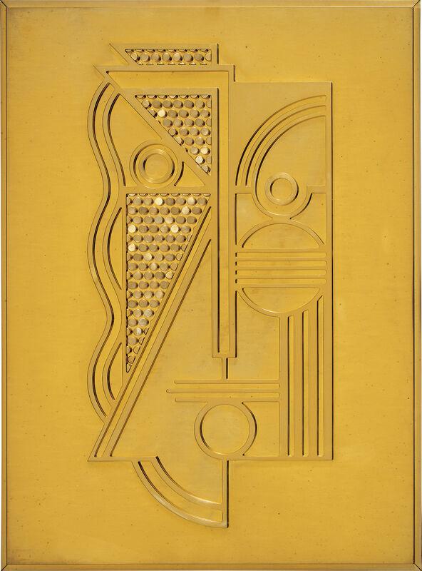 Roy Lichtenstein, 'Modern Head Relief', 1970, Sculpture, Polished brass edition relief., Phillips