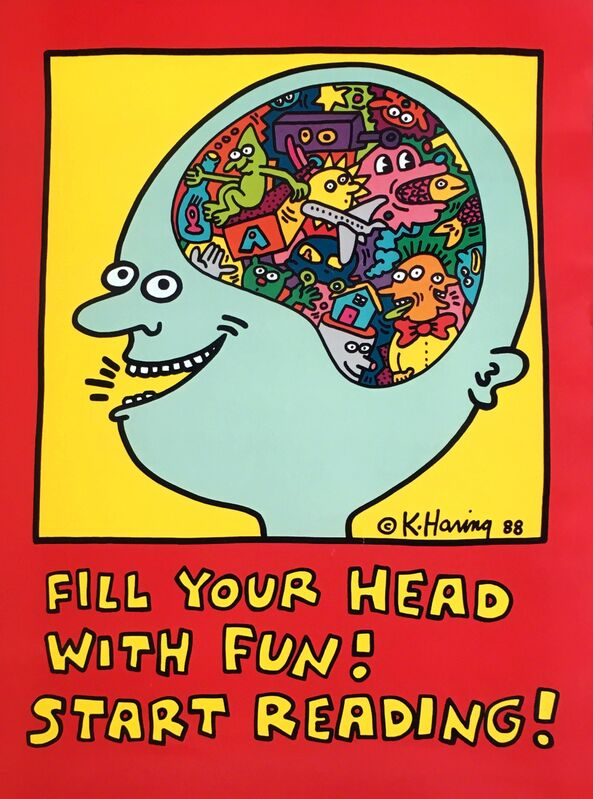 Keith Haring, 'Keith Haring, Fill Your Head with Fun! Start Reading! (Keith Haring prints)', 1988, Posters, Off-set lithograph in black, red, yellow and blue; printed on heavy glossy paper, Lot 180