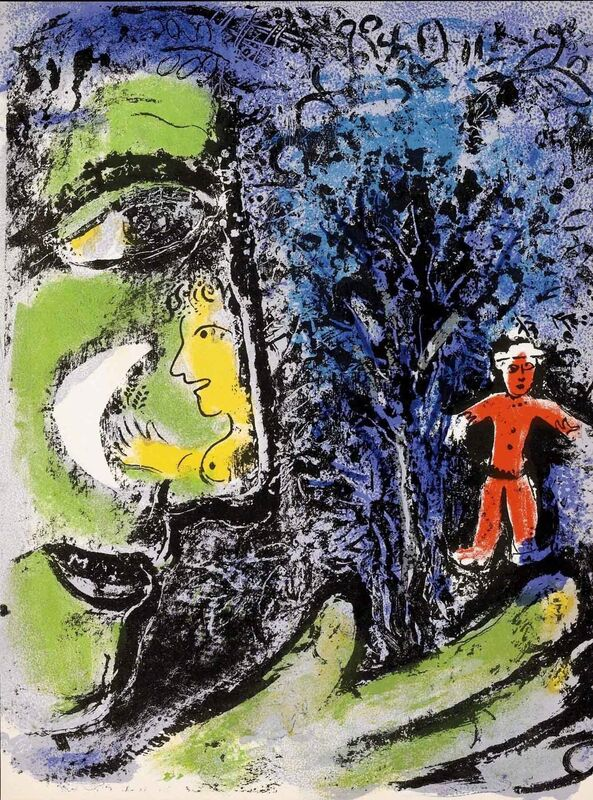 Marc Chagall, 'Profile and Red Child (M.284)', 1960, Print, Lithograph, Martin Lawrence Galleries