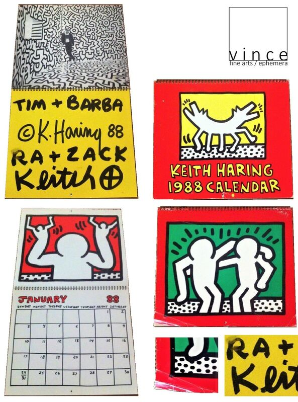 """Keith Haring, '""""To Timothy Leary"""", 1988, Keith Haring Calendar, Signed / Addressed to Timothy Leary and family,  Estate of Timothy Leary. ', 1988, Ephemera or Merchandise, Marker (black) on paper, VINCE fine arts/ephemera"""