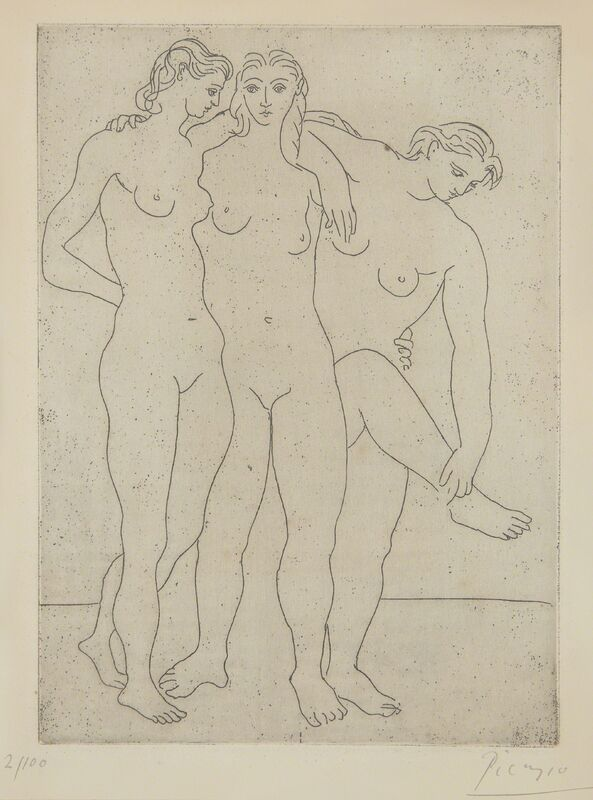Pablo Picasso, 'Les trois baigneuses III (Three Bathers III)', 1923, Print, Etching printed with tone, on wove paper, with full margins (folded back), Phillips