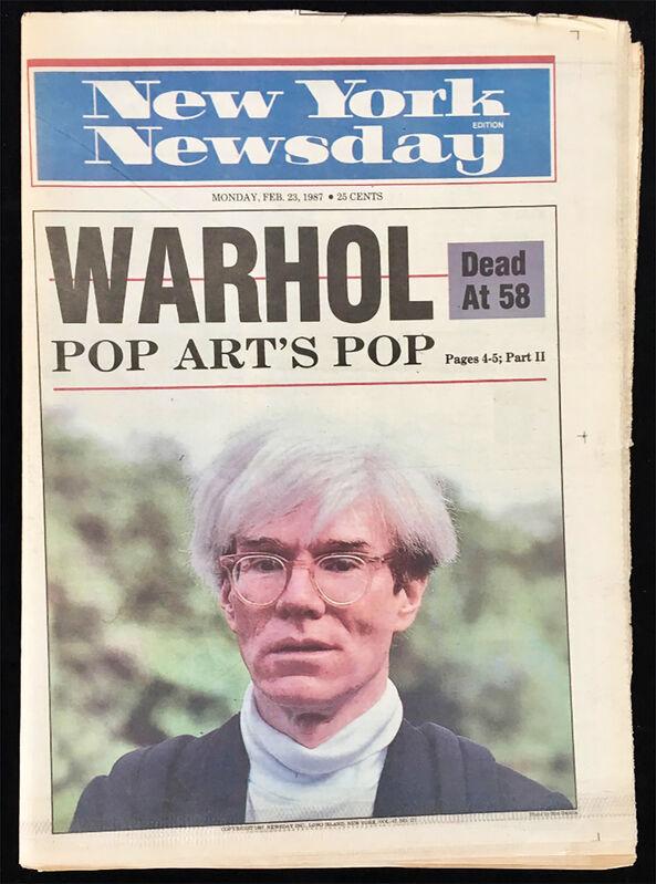 "Andy Warhol, '""Warhol Dead at 58"" (New York Newsday 1987 Warhol death)', 1987, Ephemera or Merchandise, Newspaper and ink, Lot 180"