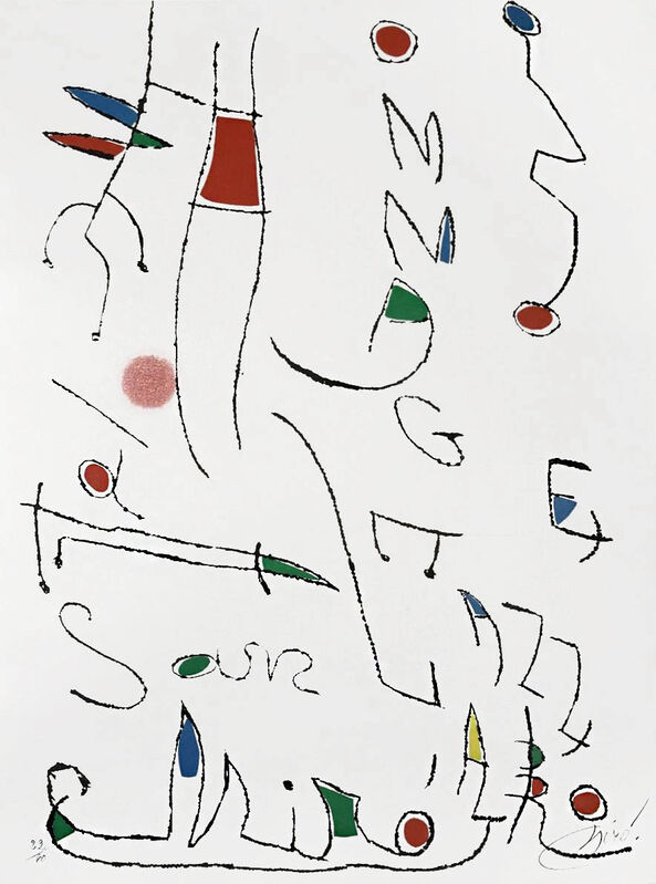 Joan Miró, 'Hommage a San Lazzaro, Pl. 7', 1977, Print, Etching with aquatint printed in colors, Masterworks Fine Art