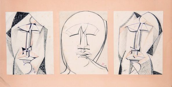 Henry De Waroquier, 'Trois visages d'homme', executed in 1918.