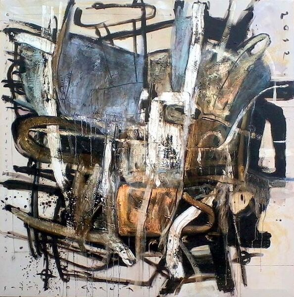 """Santiago Garcia, '""""#1"""" Abstract oil painting in black, grey and white', 2012"""