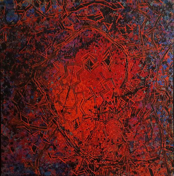 Lee Mullican, 'Spirit Head Swims Red #1', 1984