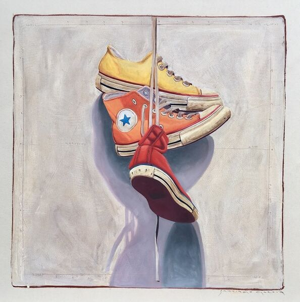 """Santiago Garcia, '""""#1401"""" oil painting of yellow, orange and red converse hanging by laces', 2019"""