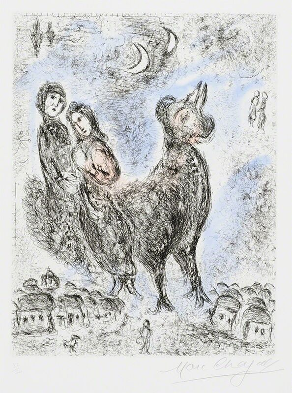 Marc Chagall, 'La Paix du soir (Evening Peace) from Songes', 1981, Print, Color etching with aquatint on Rives wove paper, Masterworks Fine Art