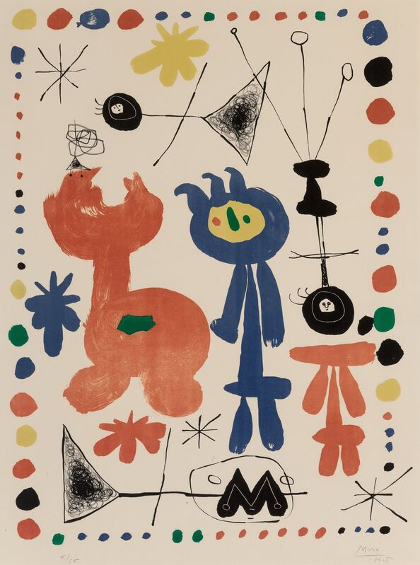 Joan Miró, 'Figure and bird', 1948, Print, Lithograph in colors on Rives BFK paper, Heritage Auctions