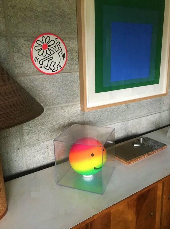 "Keith Haring, '""Dancing Flower"", POP Shop LARGE Store Display Pin, 9"" Diameter, Ex. POP Shop Managers Estate, ""Copyright- K.HARING 1989"", Unique', 1989, Sculpture, Plastic, Cardboard, Metal, VINCE fine arts/ephemera"