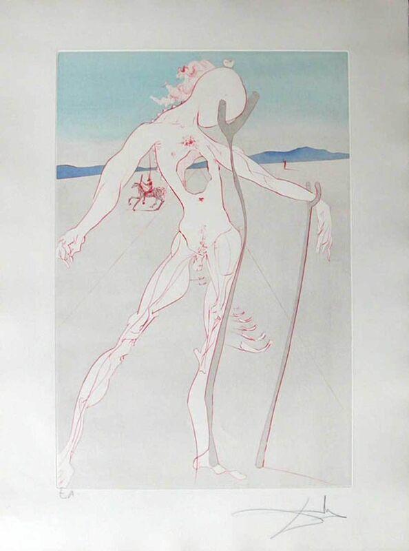 Salvador Dalí, 'Homage to Medicine - Vesalius', 1973, Print, Etching with Pochoir hand-colouring, Galerie Kellermann