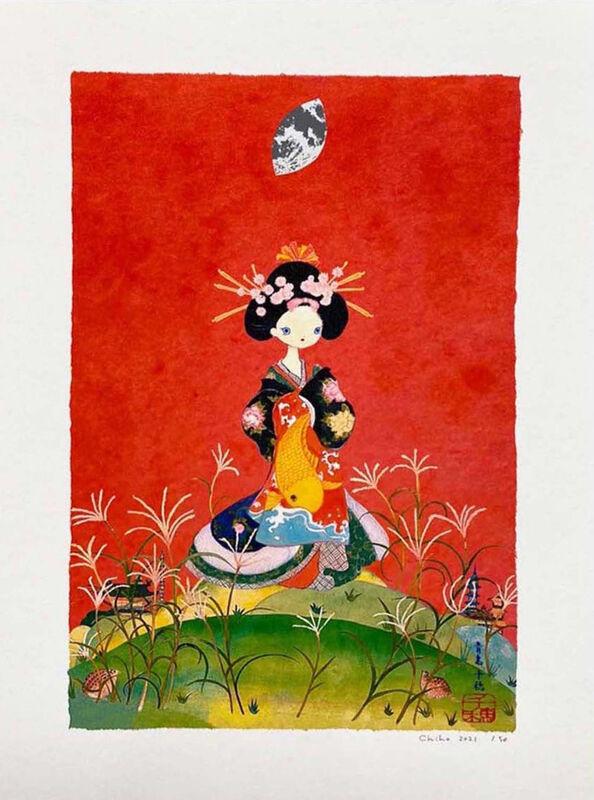 Chiho Aoshima, 'Susukino Oiran', 2021, Print, Archival Pigment Print + Silkscreen, Pinto Gallery