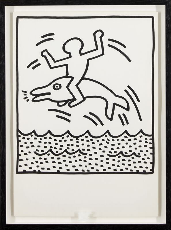 Keith Haring, 'Untitled (dolphin and crowd)', 1983, Print, Two lithographs on wove, Roseberys