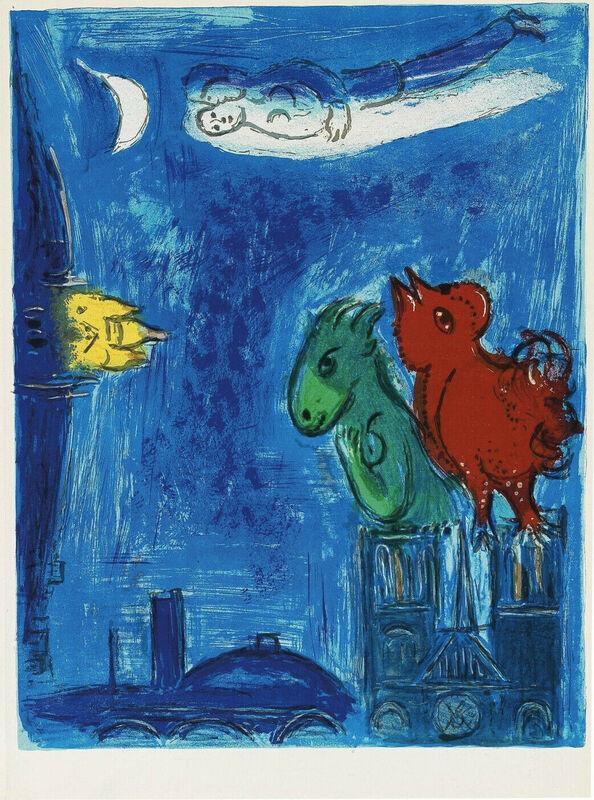 Marc Chagall, 'Paris : Les monstres de Notre-Dame', 1954, Print, Original Lithograph in Colors on Wove Paper, NCAG