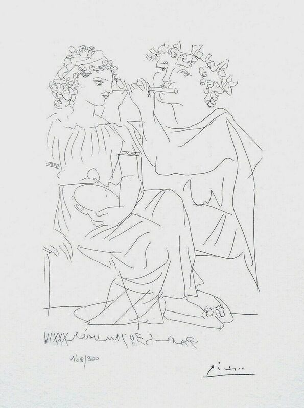 Pablo Picasso, 'Flute Payer & Girl w/Tambourine', 1990, Reproduction, Lithograph on wove paper, Art Commerce