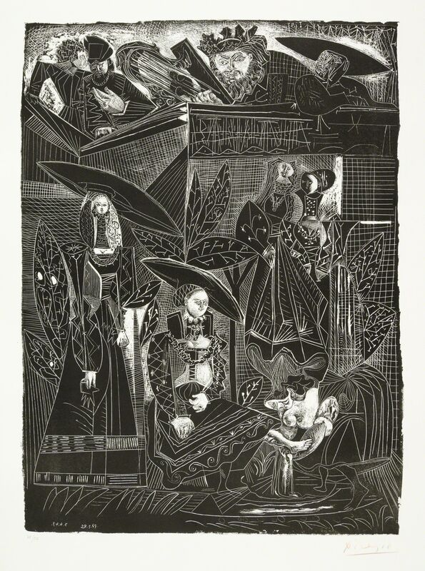 Pablo Picasso, 'DAVID ET BETHSABÉE (after Lucas Cranach)', 1949, Print, Original lithograph printed in black ink on wove paper bearing the Arches block letter watermark., Christopher-Clark Fine Art