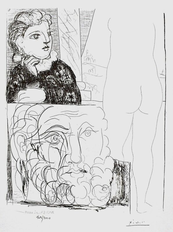 Pablo Picasso, 'Young Girl with Drawing of Male Head', 1990, Reproduction, Lithograph on wove paper, Art Commerce
