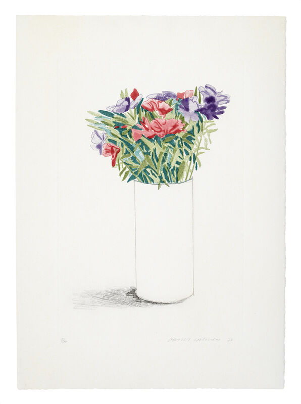 David Hockney, 'Godetia', 1973, Print, Etching and aquatint printed in colours., Sims Reed Gallery