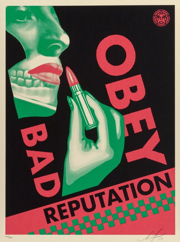 Shepard Fairey, 'Bad Reputation (Black and Cream) (two works)', 2019, Print, Screenprints in colors on speckled cream paper, Heritage Auctions