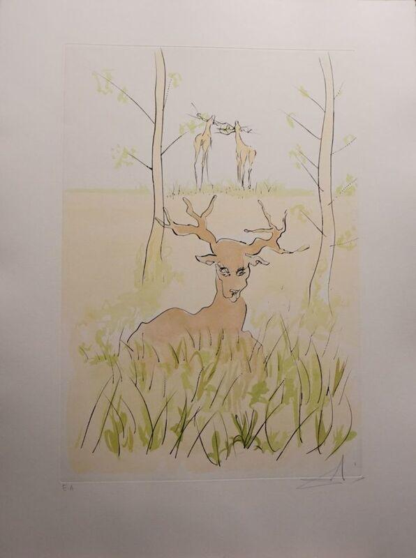 Salvador Dalí, 'Le Bestiaire de la Fontaine The Deer', 1974, Print, Etching, Fine Art Acquisitions Dali